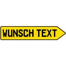 Alu SCHILD PFEIL mit ihrem Wunsch Text, gelb, Links oder Rechts