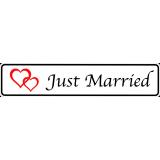 2 x Hochzeitsschilder Kfz Kennzeichen Just Married mit roten Herzen, M01